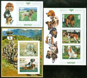 EDW1949SELL : BHUTAN 1972-73 Scott #149N, O, P. Dog Souvenir Sheets Imperforated
