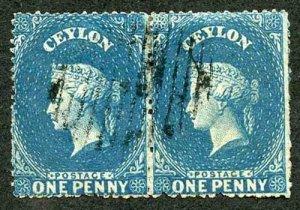 Ceylon SG28 1d Dull Blue Wmk Star Rough Perf 14 to 15.5 PAIR