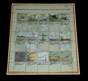 TOPICAL,1999, AVIATION, MICRONESIA, CENTURY/FLIGHT, SHEET/15, LOT #98, MNH, LQQK