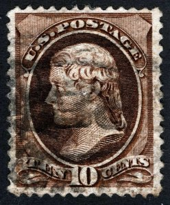 US Sc 209 Brown 10¢ ABNCo Re-engraved Used Blk Cancel *Oak Lot