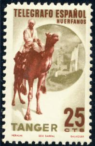 SPANISH TANGIERS - 25c Camel Rider Charity Stamp Telegraph Orphans - MH*