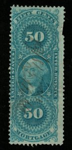 1862-71 U.S. Inter Revenue Mortgage 50c Blue (TS-364)