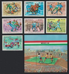 Nicaragua World Cup Football Championship Mexico 1986 4v+MS SG#2640-MS2547