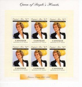 Canouan 1997 PRINCESS DIANA Sheet Perforated Mint (NH)