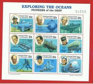 Micronesia #269  MNH OG sheet of 9 Ocean Exploration  Free S/H