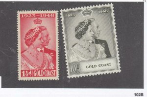 GOLD COAST # 142-143VF-MNH KGV1 1948 SILVER WEDDING (GOLD)