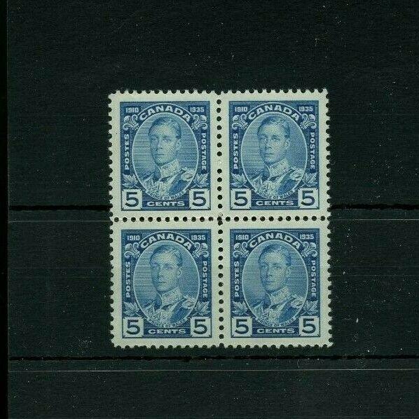 #214 Jubilee 5c George V block of 4 VF MNH Cat $36 Canada mint