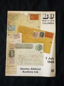 STANLEY GIBBONS AUCTION CATALOGUE 1966 BRITISH COLUMBIA & VANCOUVER ISLAND
