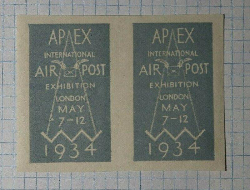 APEX Intl Air Post Exhibition London 1934 Philatellic Souvenir Ad Label MH