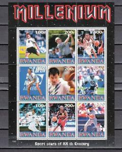 Rwanda, 1999 Cinderella issue. Sport Stars sheet of 9.