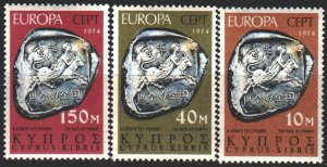 Cyprus. 1974. 409-11. Archeology, Europe-Sept. MNH.