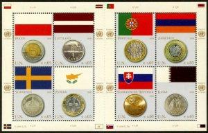 UNITED NATIONS Sc# NY 953 Geneva 484 Vienna 421 2008 Flags & Coins Sheets MNH