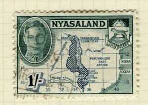 NYASALAND; 1945 early GVI issue fine used 1s. value