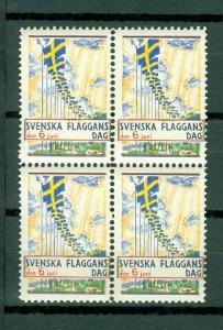Sweden Poster Stamp 1933. 4-Block Mnh. National Day June 6. Swedish Flag.