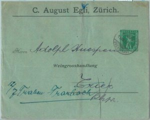 85384 - SWITZERLAND - POSTAL HISTORY - Private STATIONERY COVER  1908 Wine