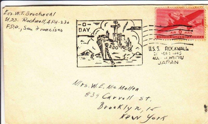 1945, USS Rockwell, APA-230, Japan to Brooklyn, NY (N1264)