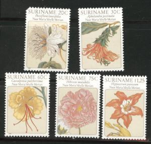 Suriname Scott 563-567 mnh** 1981 Flower set 1 rouned corner