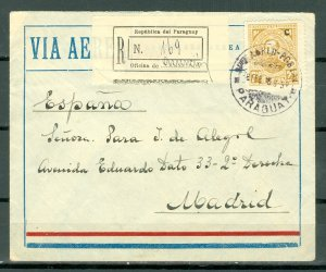 PARAGUAYZEPPELIN #C75x2.. 1933 REG. COVER TO MADRID
