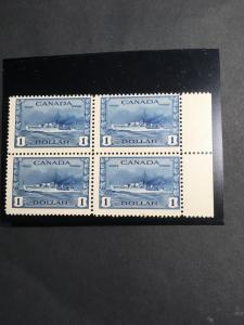Canada #262 Mint F-NH Block of Four Sc. US $400 USC Cat. C$350. Blue Destroyer