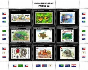 Guinea-Bissau - 2019 WWF Fauna Stamps on Stamps - 9 Stamp Sheet - GB190403a02