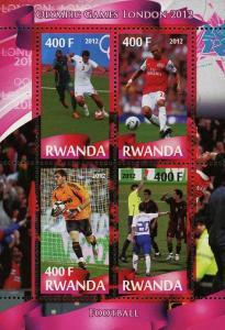 Rwanda Soccer Sport Olympic Games London 2012 Souvenir Sheet of 4 Stamps Mint NH