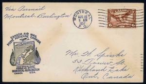CANADA 1937 Montreal to Burlington U.S.A. FFC