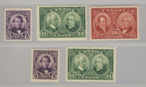 5x Canada  MH Stamps #146 2x #147 1x #148 Guide Value = $68.00