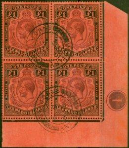 Leeward Islands 1928 £1 Purple & Black-Red SG80 Superb Used Pl 1 Corner Block of