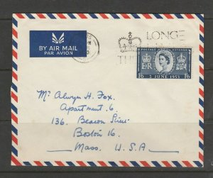 GB FDC 1953 Coronation, 1/6 only, Long Live the Queen Leeds Slogan, Neat Hand Ad