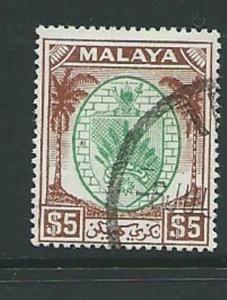 MALAYA NEGRI SEMBILAN SG62 1949 $5 GREEN & BROWN FINE USED