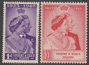 Gilbert and Ellice Islands 54-55 MNH (see Details) CV $16.25