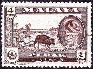MALAYA PERAK 1957 4c Sepia SG152 FU