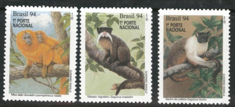Brazil Scott 2474-2476 MH* 1994 monkey set