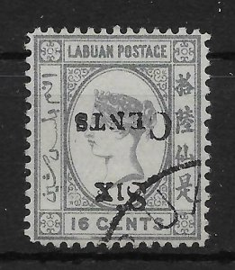 LABUAN SG50a 1892 6c ON 16c GREY INV OVPT USED