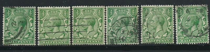 GB George V  SG 351  Used  x6 shades
