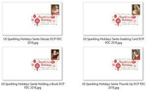 US 5332-5335 Sparkling Holidays Santa (set of 4) DCP FDC 2018