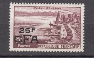 J27587  1957-60 french reunion mh #334 ovpt