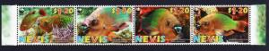 Nevis WWF Rainbow Parrotfish Strip of 4v SG#2015-2018 SC#1510a-d MI#2208-2211
