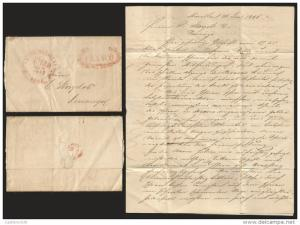 J) 1846 MEXICO, FANCY FRANCO IN RED SEAL AND PTO. DE MAZATLAN CIRCULAR RED CANCE