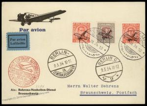 Iceland C1 C2 Reykjavik Berlin Anschlussflug 1934 Airmail Flown Cover 85714