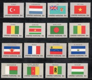 UN 325-40 Complete Flag Set Of 16 Mint/nh (Free Shipping)