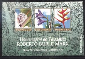BRASIL BRAZIL1995 FLOWERS PAINTIG BURLE MARX S/S YV BL 97 MI 98 MNH
