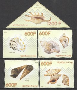 C1186 2014 CONGO SEASHELLS FISH & MARINE LIFE FAUNA 1SET MNH