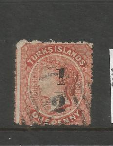 TURKS ISLANDS 1873-79  1/2d on 1d QV  FU  SG 17