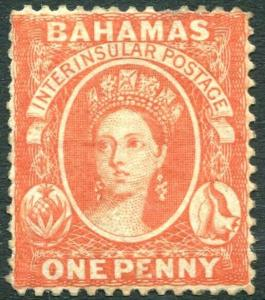 BAHAMAS-1877 1d Scarlet-Vermilion Perf 14 Sg 33 MOUNTED MINT V30886