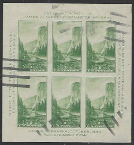 USA #751 Used Imperf. Block of 6 cv $12.50