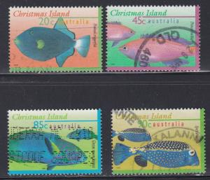 Christmas Island # 381, 383, 384 & 385, Fish, Used, 1/3 Cat