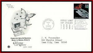 US FDC #3191f 33c A2474f1990's: Computer Art and Graphics - PCS Cachet