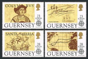 Guernsey 467-470,MNH.Michel 549-552. EUROPE CEPT-1992. Columbus-500. Ships, Map.