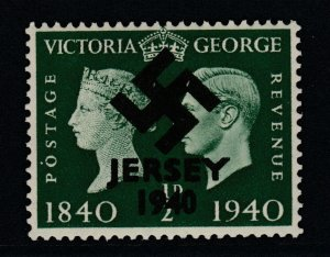 Jersey 1940 Swastika opt on Great Britain KG6 Centenary 1/2d green